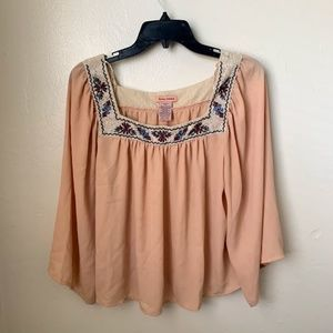 Flying Tomato Peach Boho Peasant Embroidered